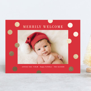 a merry welcome Foil-Pressed Holiday Birth Announcements