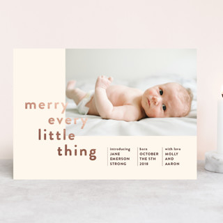 Merry Every Little Thing Foil-Pressed Holiday Birth Announcements