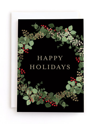 Eucalyptus Tale Foil-Pressed Holiday Greeting Cards
