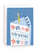 Floral Birthday Cake Foil-Pressed Kid's Birthday Greeting Cards
