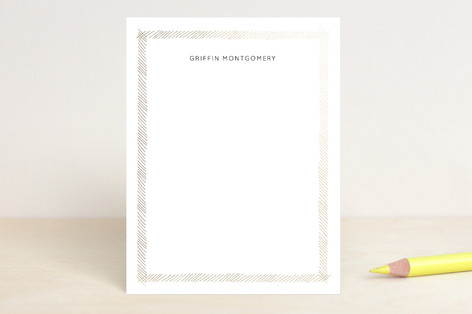 Crosshatched Note Foil-Pressed Stationery