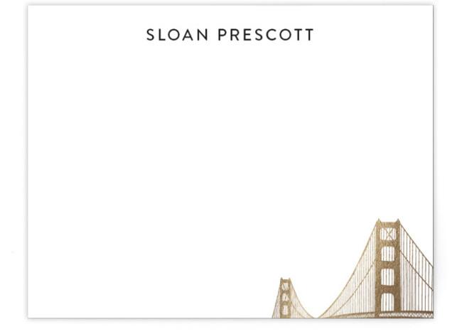Golden Gate Bridge Foil-Pressed Personalized Stationery