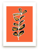 Modern Stem No. 3 on Orange Spice Art Prints