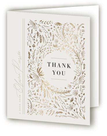 Floral Flourish Foil-Pressed Graduation Announcement Thank You Cards