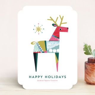 Collaged Reindeer Business Holiday Cards