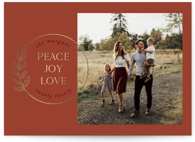 botanical circle Foil-Pressed Holiday Cards
