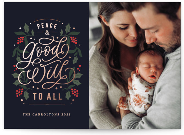Peace & Goodwill To All Foil-Pressed Holiday Cards