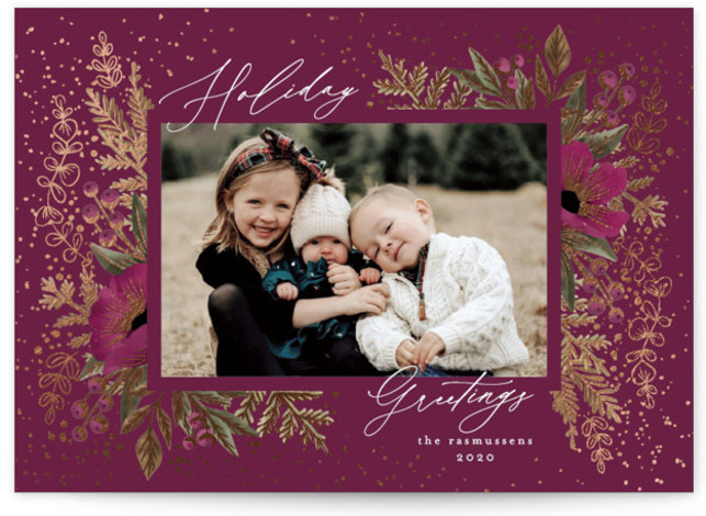 Festive Glitter Foil-Pressed Holiday Cards