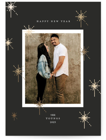 New year sparks Foil-Pressed Holiday Cards
