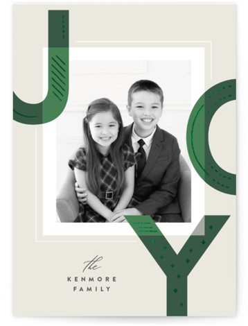 Hand Stitched Joy Foil-Pressed Holiday Cards