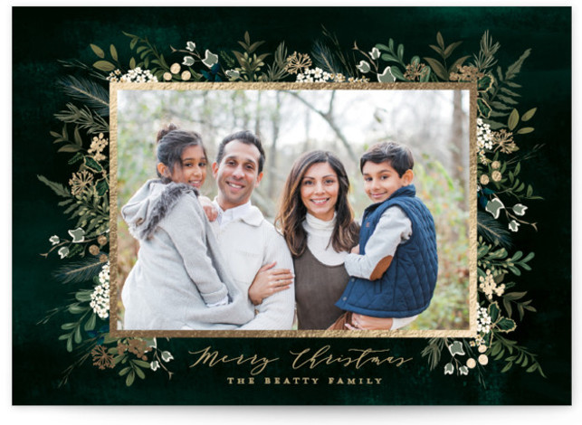 Classic Greenery Foil-Pressed Holiday Cards