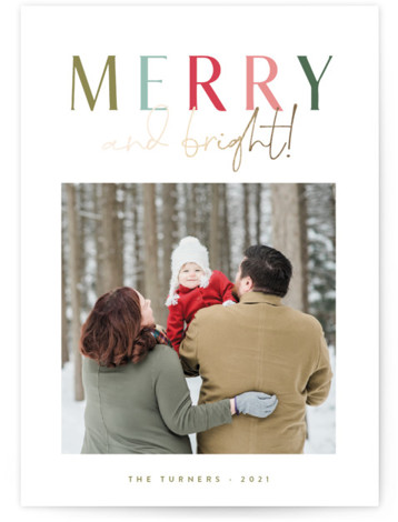 Merrily Bright Foil-Pressed Holiday Cards
