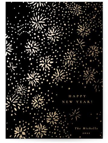 Sparkling Fireworks Foil-Pressed Holiday Cards