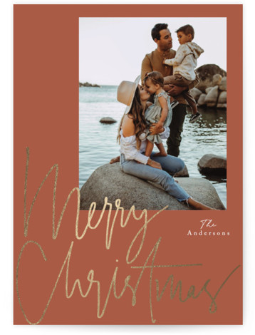 thin script Foil-Pressed Holiday Cards
