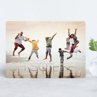 oh so merry in line Foil-Pressed Holiday Cards