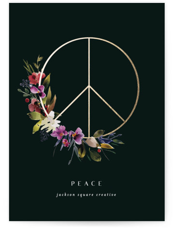 peace botanical Foil-Pressed Holiday Cards