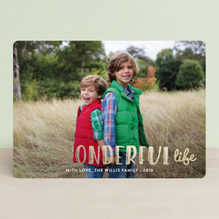 Life Is Wonderful Foil-Pressed Holiday Cards