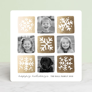 Snowflake Squares Foil-Pressed Holiday Cards