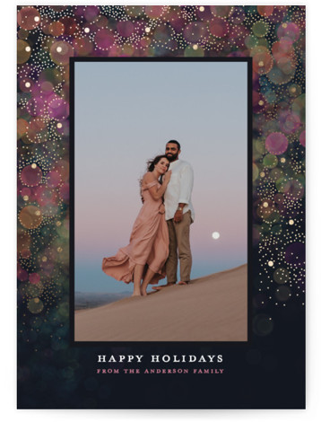 Christmas Bokeh Foil-Pressed Holiday Cards