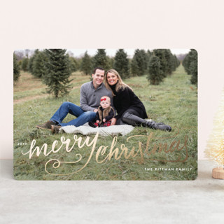 Winter Brush Foil-Pressed Holiday Cards
