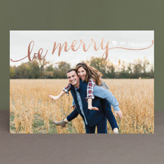 Be Merry Script Foil-Pressed Holiday Cards