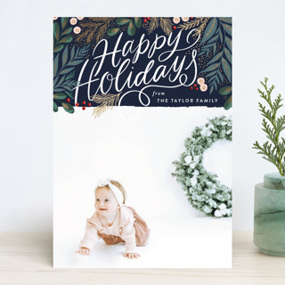 Scripted Pine Branch Berries Foil-Pressed Holiday Cards