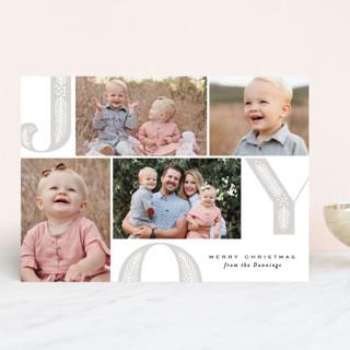 Joy Pine Letters Letterpress Holiday Photo Cards