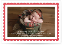 holiday scallop Letterpress Holiday Photo Cards