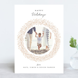 Christmas Wreath Letterpress Holiday Photo Cards
