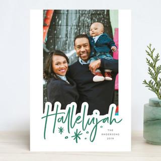 hallelujah sketched Letterpress Holiday Photo Cards