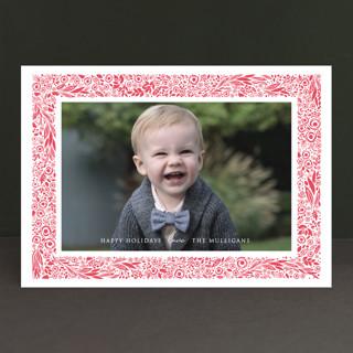 Floral Frame Letterpress Holiday Photo Cards