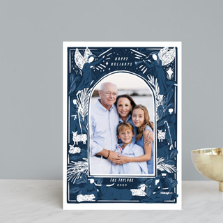 Woodblock Nativity Frame Holiday Petite Cards