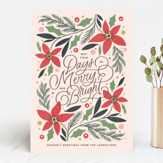 Poinsettia Trim Holiday Cards