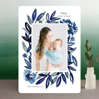 Brush Leaves New Year Photo Cards