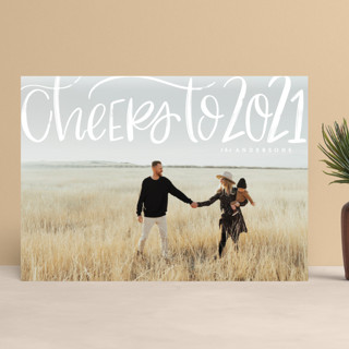 Brushed Cheer New Year Photo Cards