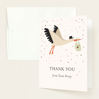 Here comes Baby Foil-Pressed Baby Shower Thank You Cards
