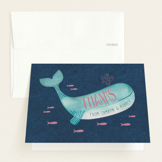 Gender Reveal Whale Baby Shower Thank You Cards