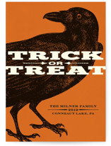Trick or Treat Raven Halloween Postcards