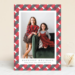 Holiday Gingham Holiday Photo Cards