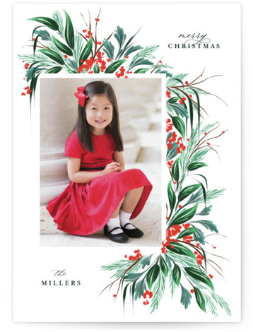 hollyday bough Holiday Photo Cards