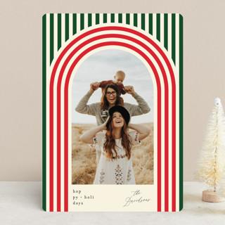 Retro Stripes Holiday Photo Cards