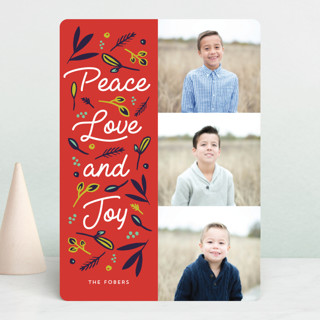 Peace Love Joy Triple Holiday Photo Cards