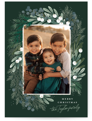 Greenery Wreath Holiday Photo Cards