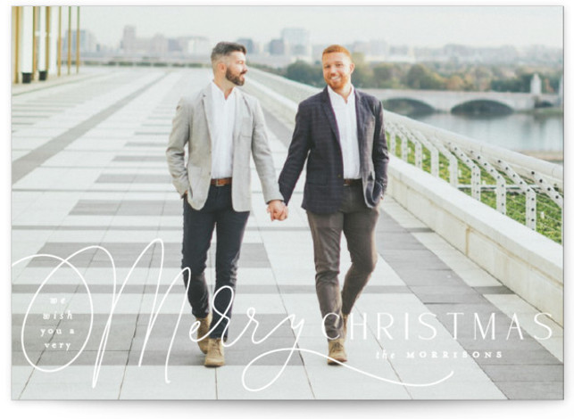 Pen Script Holiday Photo Cards