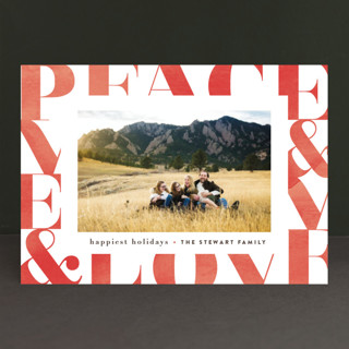Modern Peace & Joy Holiday Photo Cards