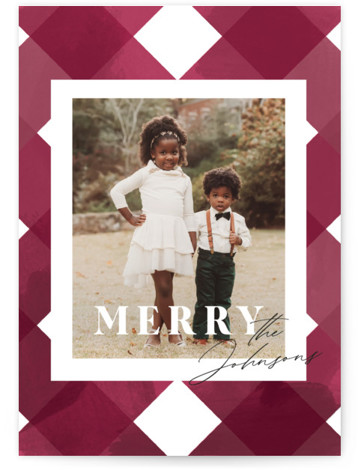 Checked Holiday Photo Cards