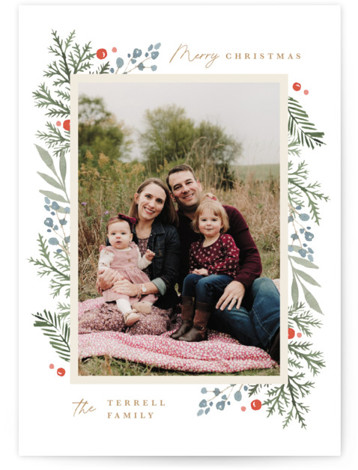 Evergreen Trim Holiday Photo Cards