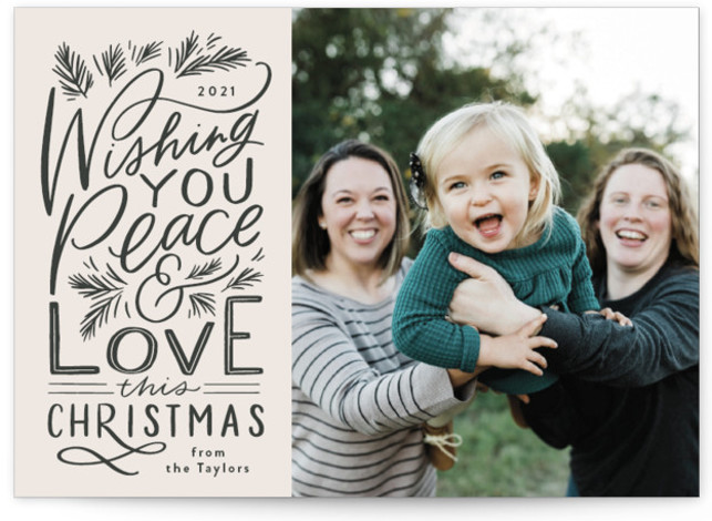 Peace and Love Lettered Holiday Photo Cards