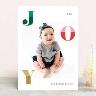 Two Toned Joy Holiday Photo Cards