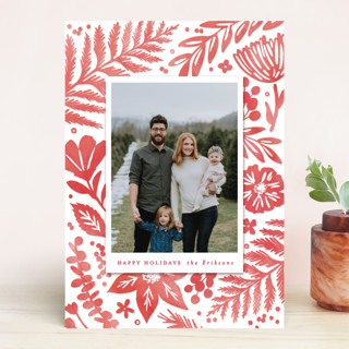 Festive Watercolor Florals Holiday Photo Cards
